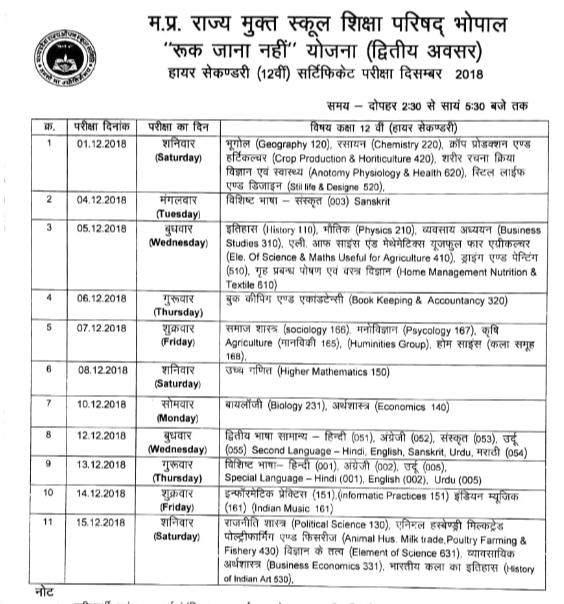 MPSOS Ruk Jana Nahi 12th Time Table December 2018