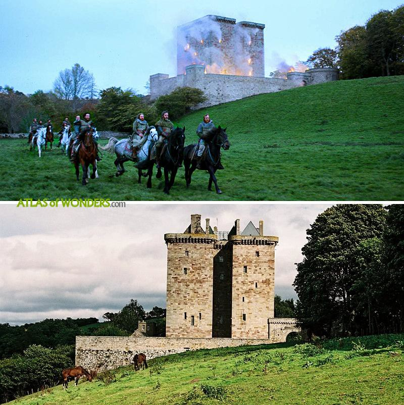 Borthwick Castle tower on fire