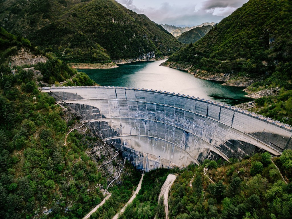 Valvestino Dam on Lake Garda in Italy. Hydroelectric power plant.
