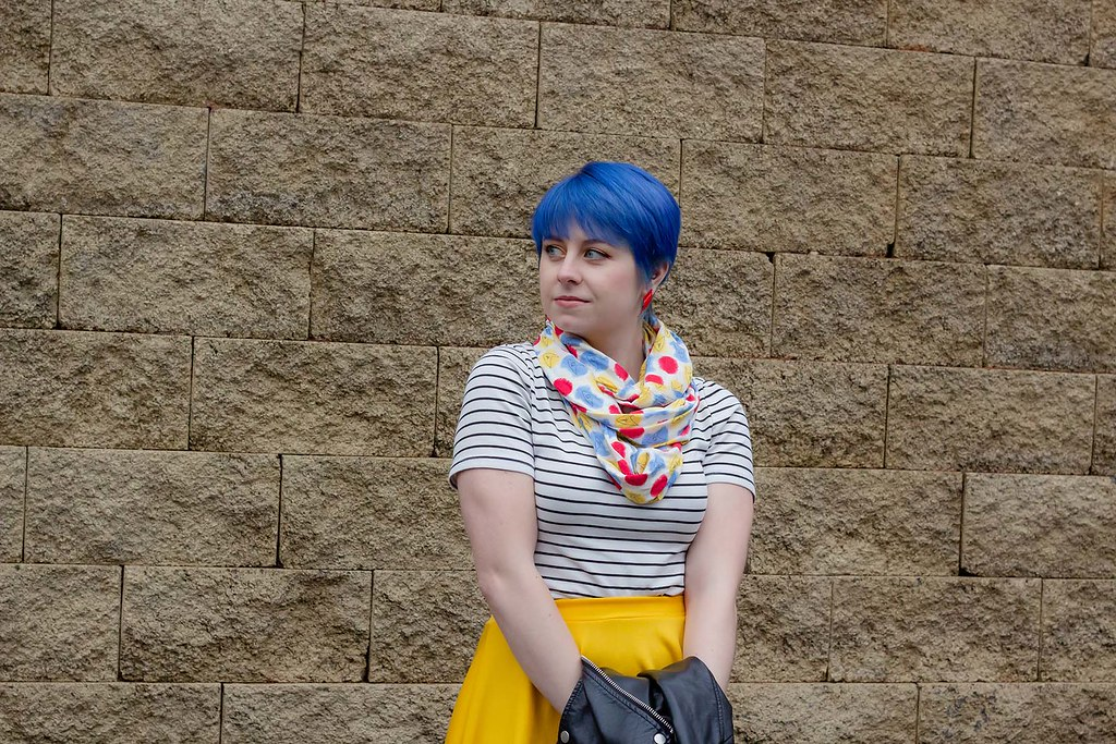 Blue Hair, Striped Shirt, Star Trek Primary Colored Scarf