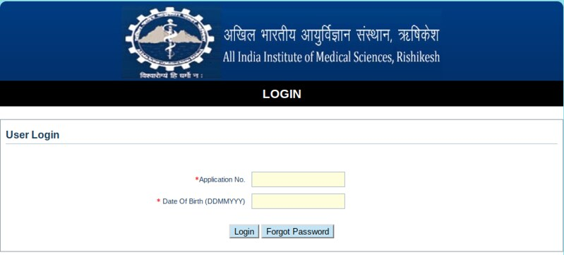 AIIMS Rishikesh Admit Card 2019 - Login page