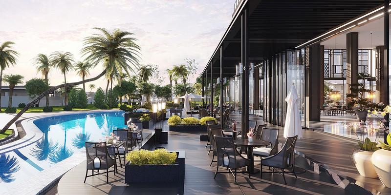 khu vực relax thư giãn cafe bên hồ bơi