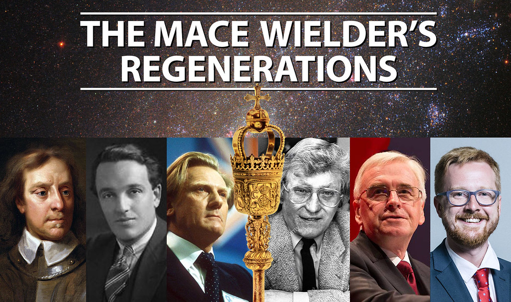 Graphic showing the people who have wielded the mace with the title 'The Mace Wielder's Regenerations'