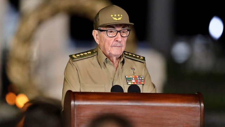 古巴共產黨中央委員會第一書記勞爾·卡斯楚發表革命60週年演說。(圖片來源:EFE)