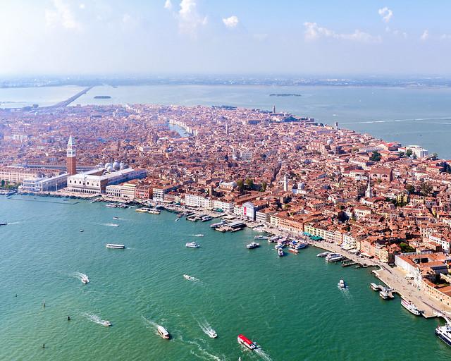 Vistas aéreas de la isla de Venecia