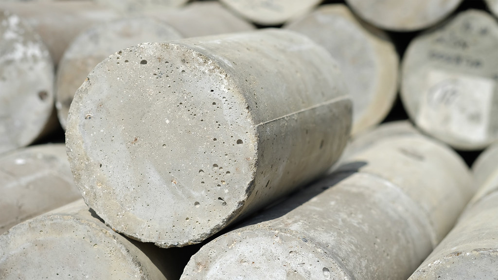 Close up of concrete cylinders stacked up