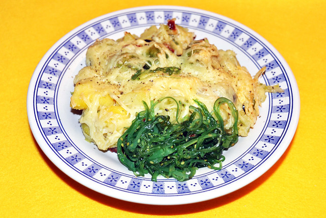 """Fleischlos glücklich: Kartoffel-Rosenkohl-Auflauf """"Land und Meer"""" ... Fotos: Brigitte Stolle"""