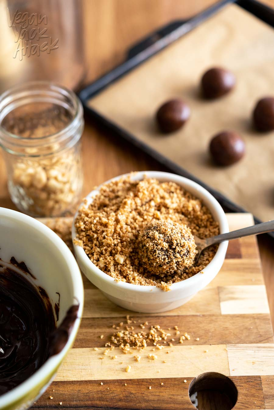Easy-to-make and with only 8 ingredients, these Chocolate Peanut Butter Candy Bites are perfect for satiating that sweet tooth in no time! From The Vegan 8 Cookbook, by Brandi Doming. #vegan #glutenfree #soyfree
