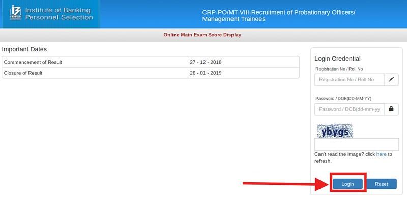 IBPS PO Main Score Login Page