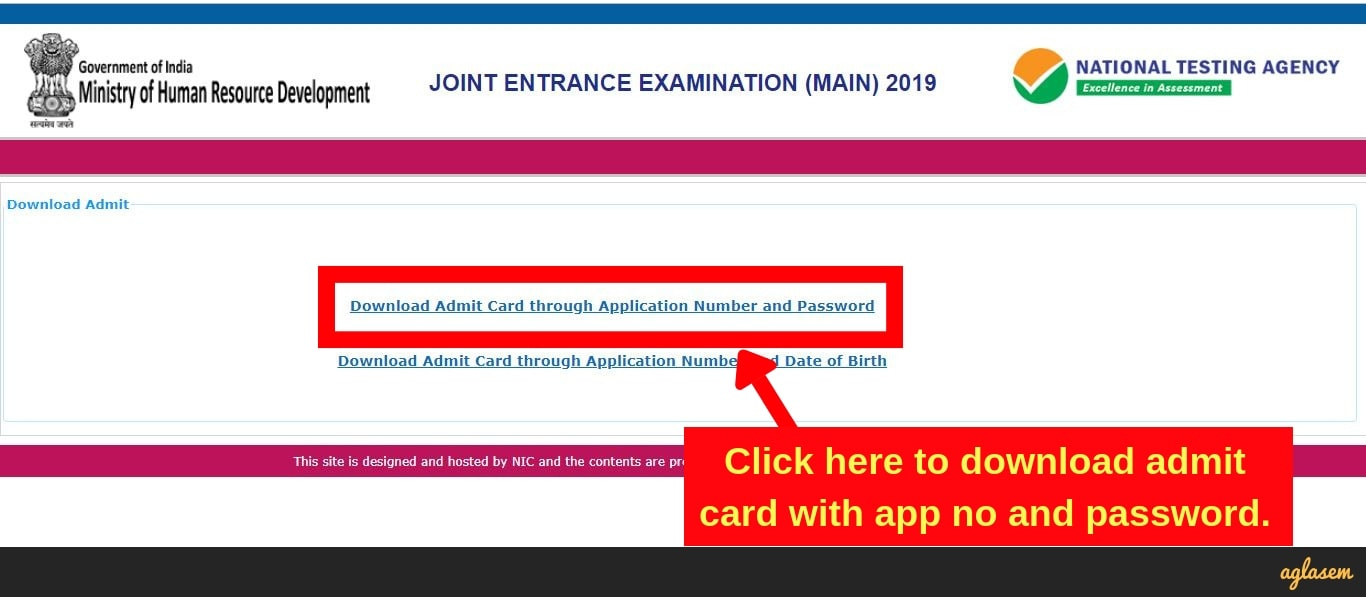 JEE Main Admit Card 2019 Download Option 1