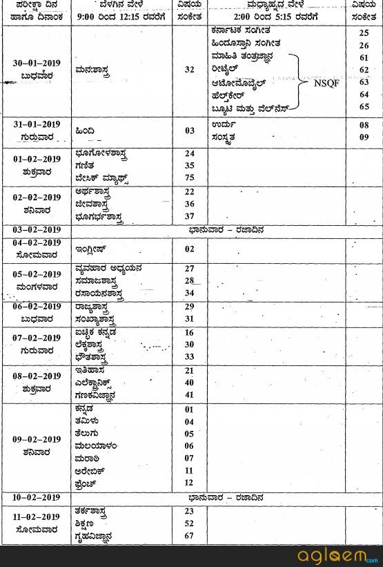 Karnataka 1st PUC Time Table 2020 – AglaSem Schools