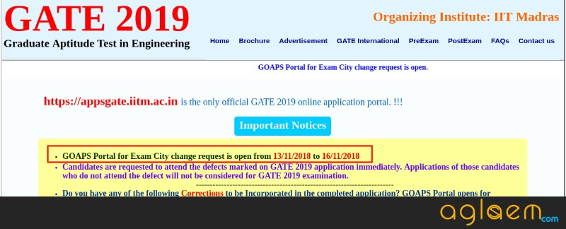 GOAPS Now Open For GATE 2019 Exam City Change; Know Details