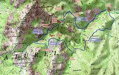 """Carte du Haut-Cavu avec l'ensemble du ruisseau du Finicione et le tracé du """"Giru di Altu Cavu"""" qui utilise les deux chemins RD et RG qui encadrent le ruisseau du Finicione"""