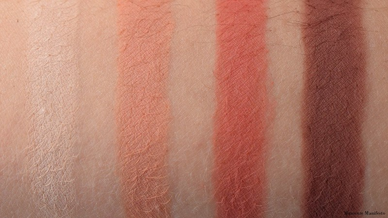 Too Faced Just Peachy Mattes Peach Butter, Just Peachy, Peach Punch, Just Ripe Swatch