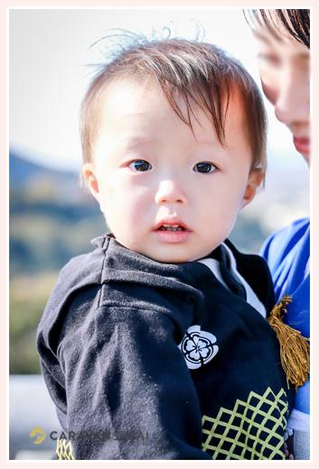 1才の男の子 羽織袴風のロンパース