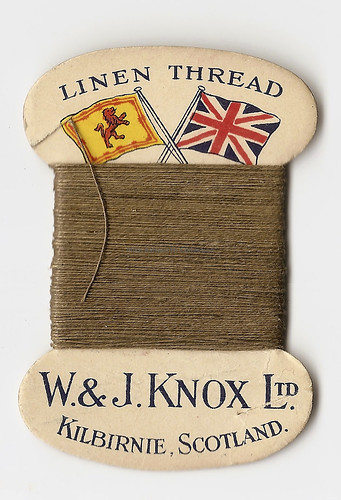 Vintage Linen Thread card, W & J Knox, Kilbirnie, Scotland | by mikeyashworth