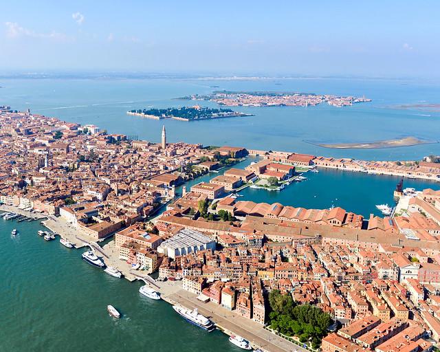 Barrio del Castello de Venecia desde el aire