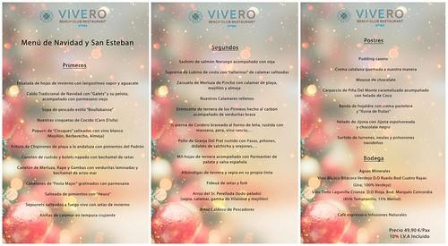 Menú Navidad y San Esteban El Vivero