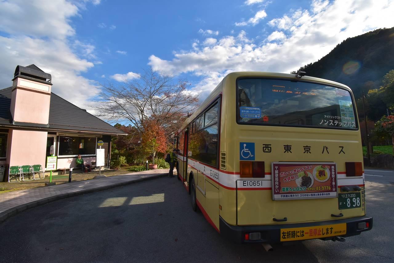 小菅の湯から奥多摩駅行きバス