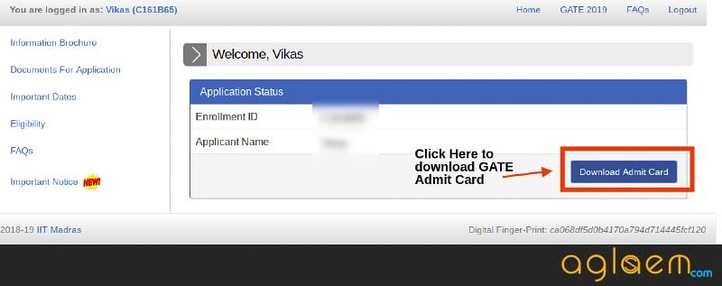 GATE 2019 Admit Card (Released) - Download From GOAPS Login at gate