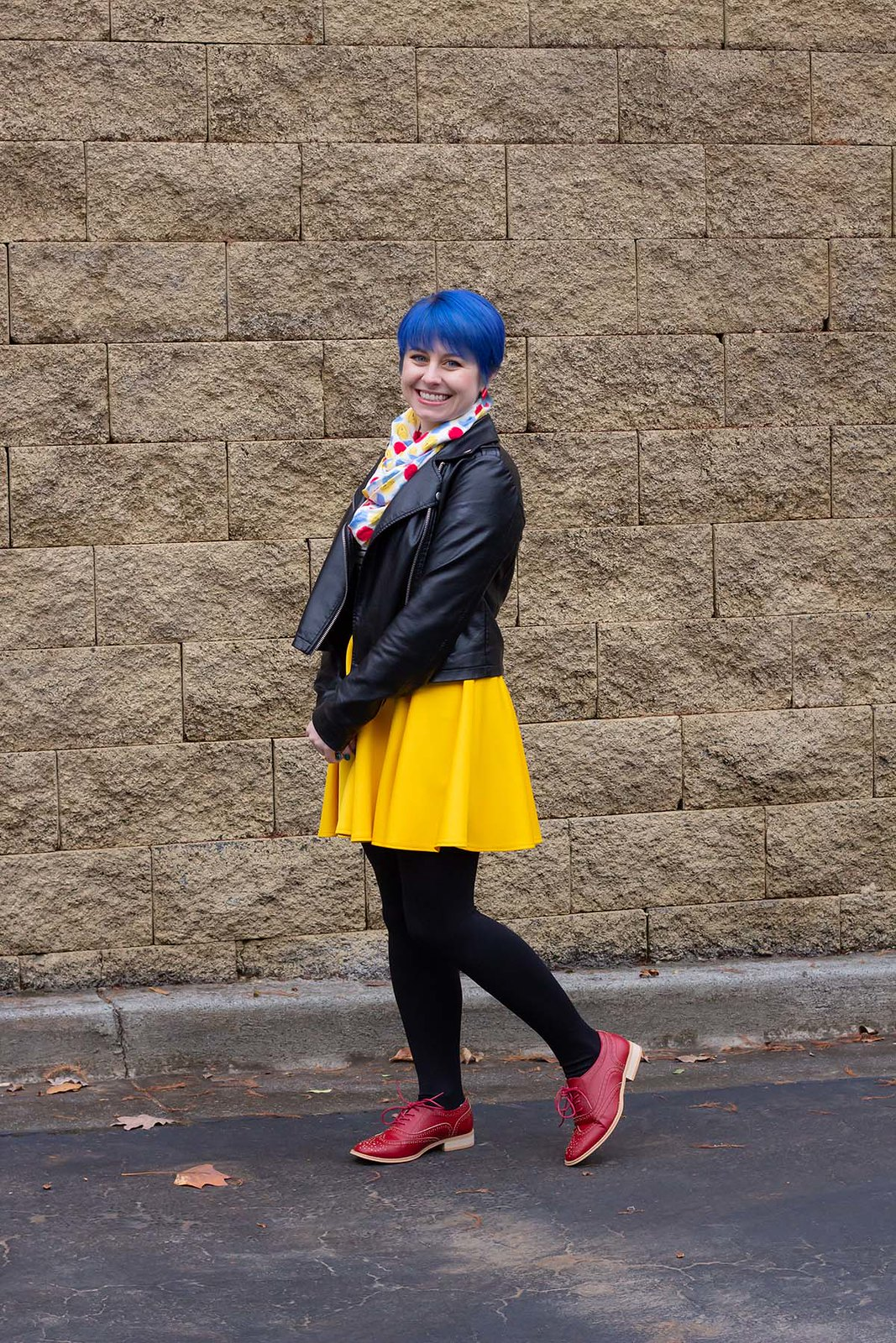 Bright Blue Hair, Leather Jacket, Yellow Skirt, Black Opaque Tights, Red Oxfords