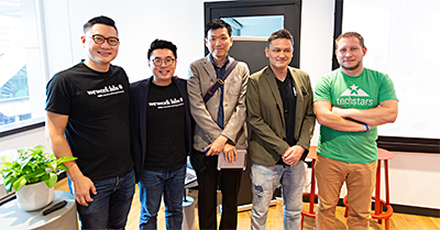 "Local partners and education institutions discussing the startup economy at the ""Humanizing an Innovation Ecosystem"" panel at the launch of WeWork Labs. From left: Turochas ""T"" Fuad, Managing Director, WeWork Southeast Asia; Adrian Tan, Head of Labs, WeWork Southeast Asia; Clarence Ti, Principal, Ngee Ann Polytechnic; Julian Lai-Hung, CEO and Founder, Blockpunk (WeWork Labs Member); Dennis List, Program Manager, Techstars."