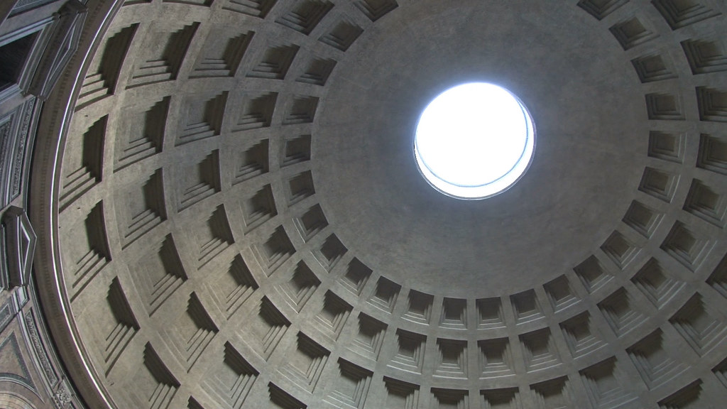 Looking up into the curved roof of the Pantheon in Rome