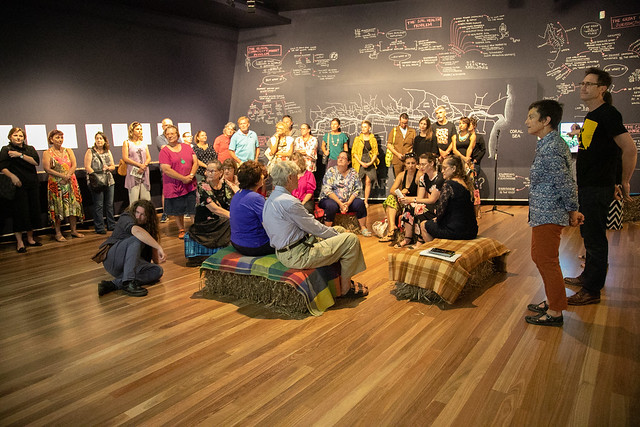 artist talk at opening of Sugar vs the Reef? at Artspace Mackay