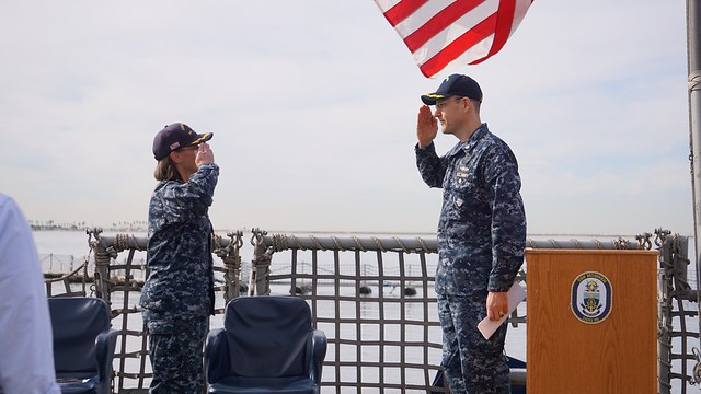 SAN DIEGO, CA – On December 04 2018, the crew of USS MOMSEN (DDG 92) stood in formation on the flight deck to hold the change of command ceremony while pier side at Naval Base San Diego.