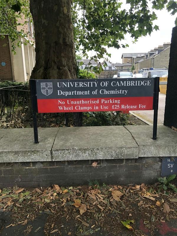 劍橋大學化學系指示牌