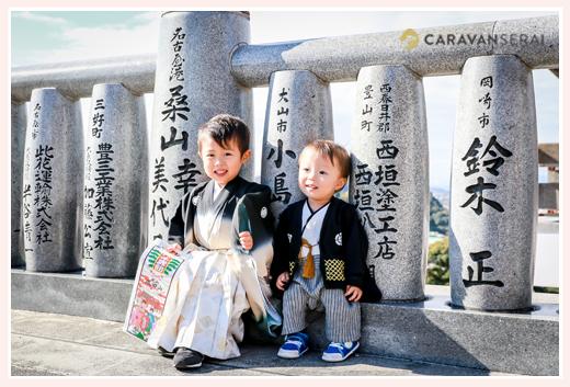 3歳の男の子の七五三 犬山成田山  1才の弟と一緒に