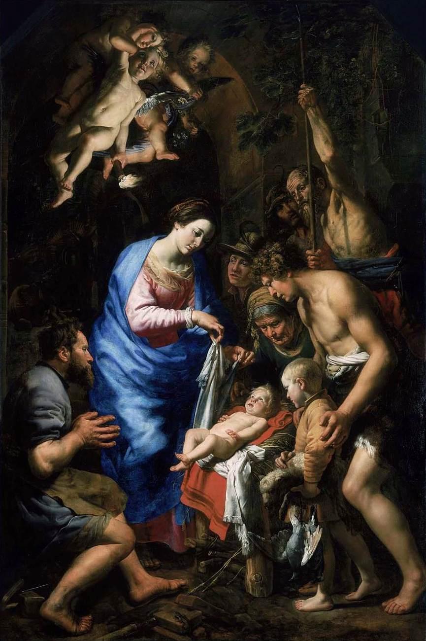 «Adoração dos Pastores», Teodoro Van Loon, c. 1620 — Óleo sobre tela, 250 x 167 cm (Museu de Belas Artes, Boston)