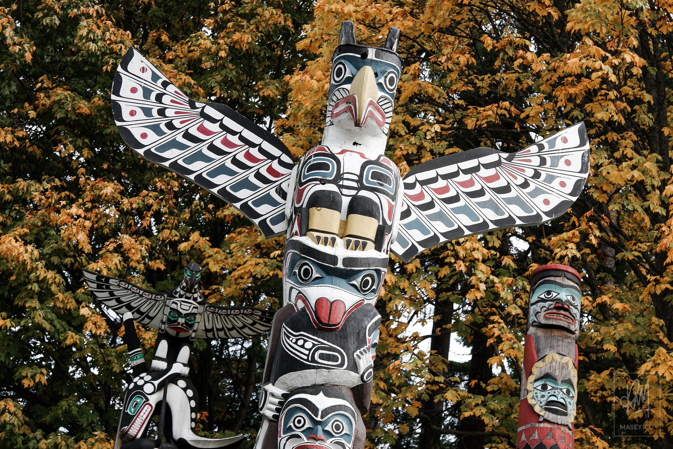The striking Totem Poles at Stanley Park's Brockton Point