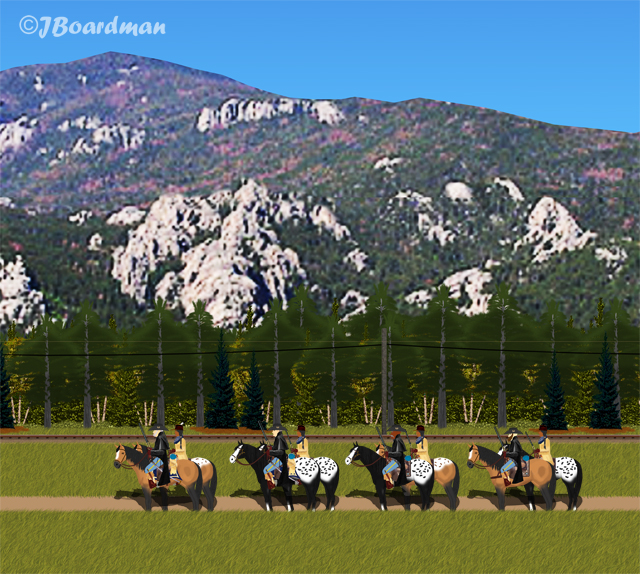 Captain Boomer and Company patrolled along the RR line ©J. Boardman