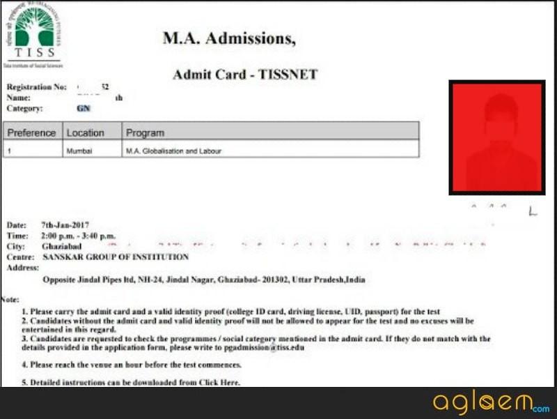 TISSNET Admit Card