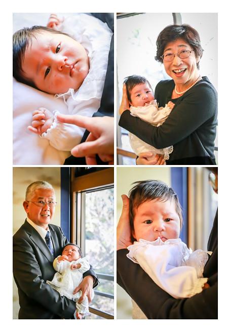 お宮参り 赤ちゃんを抱っこするおじいちゃまとおばあちゃま