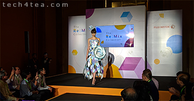 Models donned lively paper dresses designed and printed by Fuji Xerox's specialists and equipment at the Innovation Re:Mix Forum.