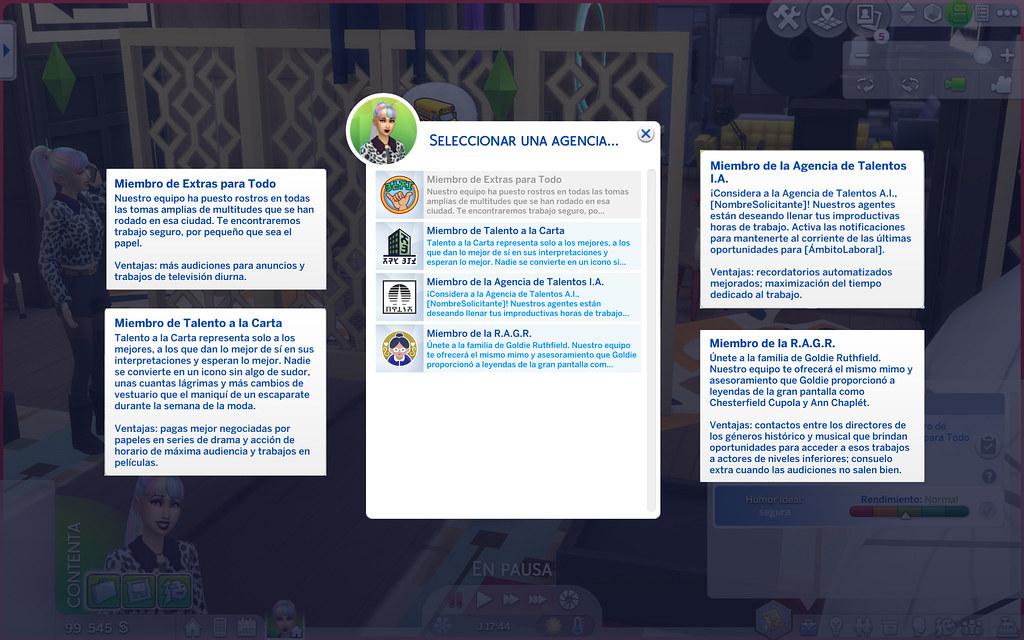 Profesión Actuación en Los Sims 4 - Agencias de talento