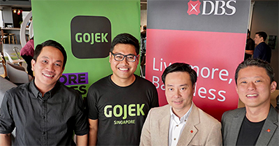 (From left) Go-Jek President, Andre Soelistyo; Go-Jek's Global Head of Transport, Raditya Wibowo; Shee Tse Koon, Group Head of Strategy and Planning, DBS Bank; and Gene Wong, Head of Ecosystems, Consumer Banking Group, DBS Bank.