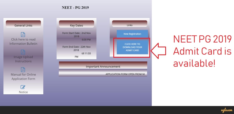 NEET PG 2019 Admit Card