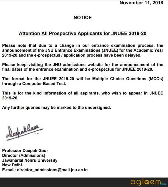 JNUEE 2019 M.Tech Admission