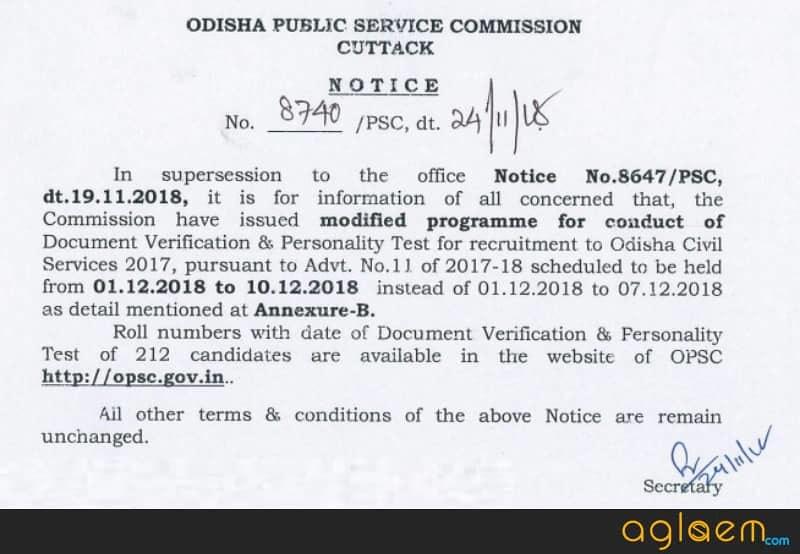 Odisha Civil Services Examination 2018
