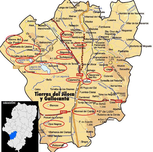 Mapa de las Tierras del Jiloca y Gallocanta (Aragón)