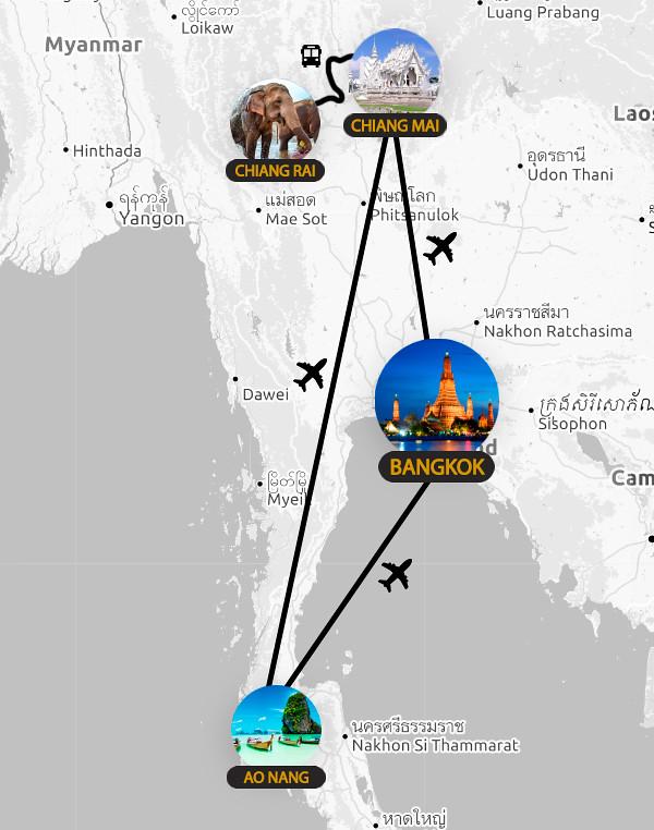 Mapa con la ruta e itinerario de 15 días por Tailandia