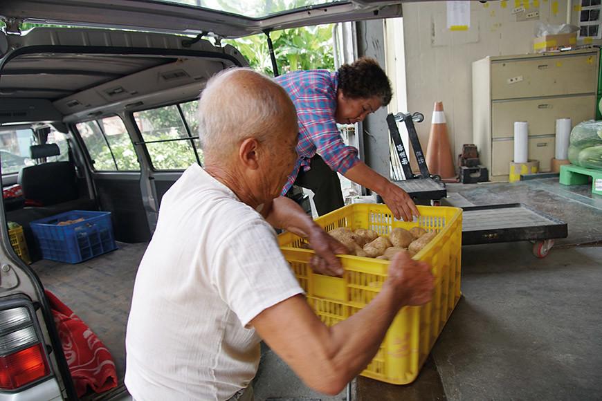 一籃豆薯將近50斤重,從採收、搬運到送貨都是夫婦兩人自己來,對於體力的負荷頗重。吃到如此辛勤種出的農作物,社員要格外珍惜!