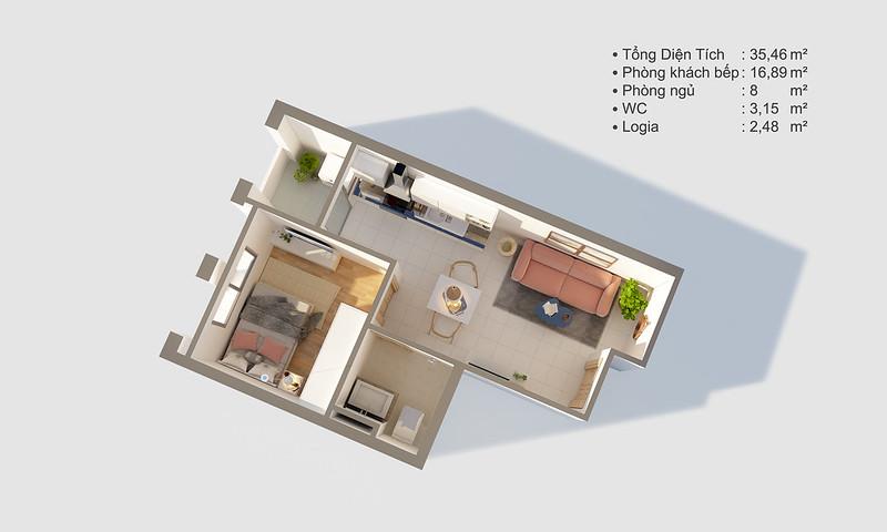 Thiết kế mẫu căn hộ Studio D-One 1