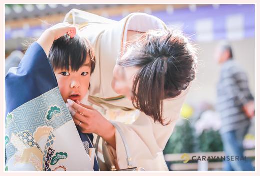 七五三 5歳の男の子とママ 砥鹿神社 愛知県豊川市