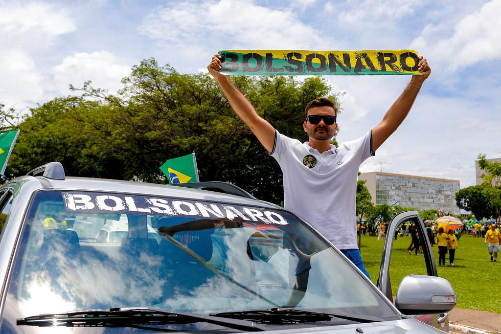 巴西總統波索納洛(Jair Bolsonaro)的支持者。圖片來源:Alessandro Dias(CC BY-NC-ND 2.0)