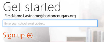 Enter school email address screenshot