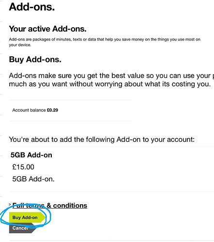 アドオンの購入確定画面。水色の円で囲ったボタンを選択するとクレジットがアドオンに変換される。